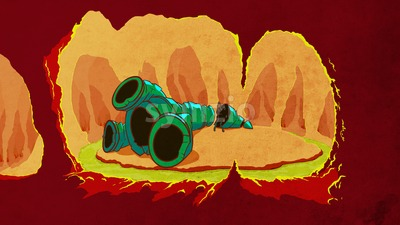 Broken rocket on the unknown planet, close up. Science fiction digital background raster illustration Stock Photo