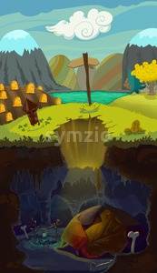Speleology, cartoon style. Life above and under the ground. Digital background raster illustration for kids book. Stock Photo