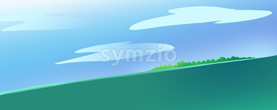 Lonely Island in the Ocean or a Sea. Calm green water current. Blue Sky with Clouds. Digital background raster illustration. Stock Photo
