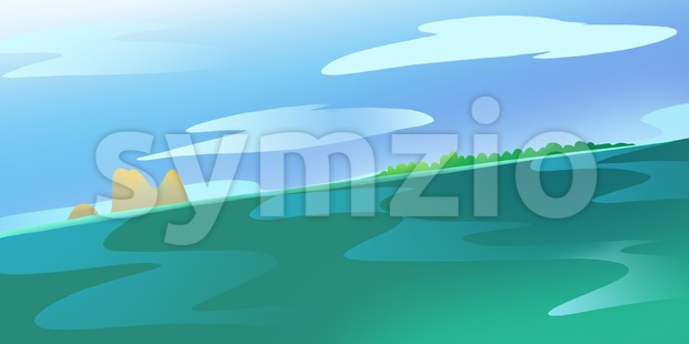 Lonely Island and some Rocks in the Ocean or a Sea. Calm green water current. Blue Sky with Clouds. Digital background raster illustration. Stock Photo