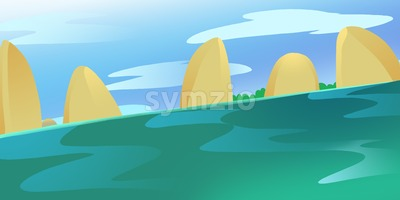 Sea Rocks in the Calm green water current. Blue Sky with Clouds. Digital background raster illustration. Stock Photo