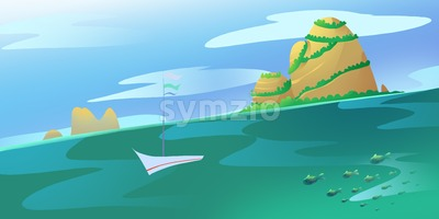 Big High Lonely Island and some Rocks in the Ocean or a Sea. Calm green water current. Blue Sky with Clouds. Digital background raster illustration. Stock Photo