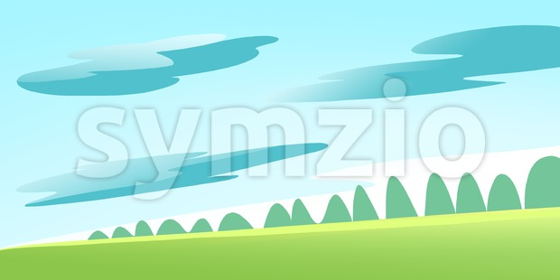 Green Meadow and Forest on a Calm Sunny Summer Day with some Clouds in the Sky. Digital background raster illustration. Stock Photo
