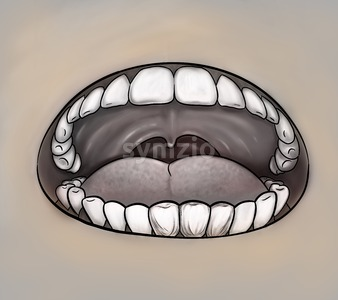 Oral health concept. Mouth close up gray image. Digital background raster illustration. Stock Photo