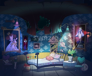 Alice in Wonderland, down the rabbit hole. Kids book picture. Little girl room interior. Digital background raster illustration. Stock Photo