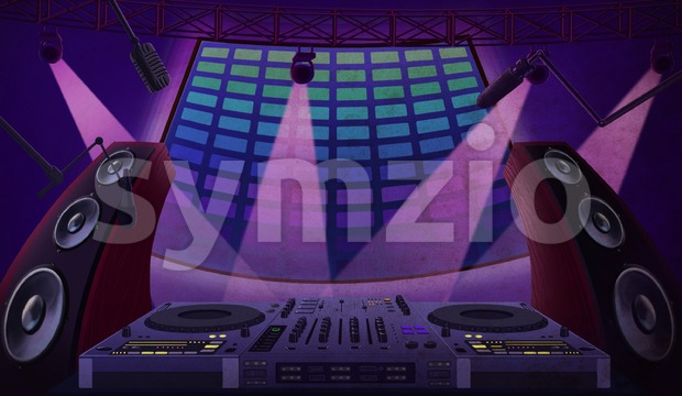 Music controller with mixing console, microphones and dynamics. Party at the night club. Digital background raster illustration. Stock Photo