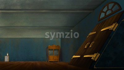 Room with a big cellar door. Digital background raster illustration for games, kids book. Stock Photo