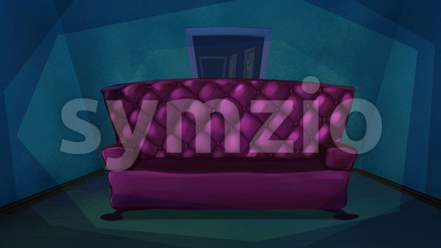 Luxurious pink sofa in blue living room. Digital background raster illustration. Stock Photo
