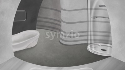 High tech bathroom. Digital background raster illustration. Stock Photo