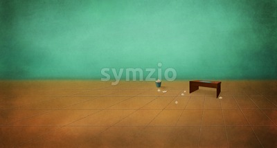 Table in an empty room. Depression, despair. Boredom. Digital background raster illustration. Stock Photo