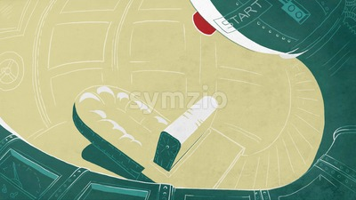 Futuristic cockpit in a rocket. Spaceship interior. Digital background raster illustration. Stock Photo