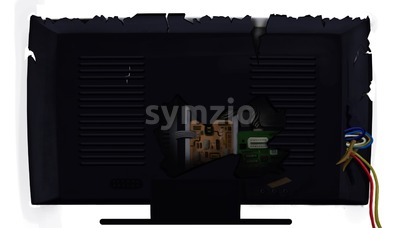 Broken TV set / monitor from the back isolated on white background. Digital background raster illustration. Stock Photo