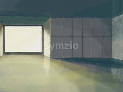 Lobby interior design with big window. Digital background raster illustration. Stock Photo