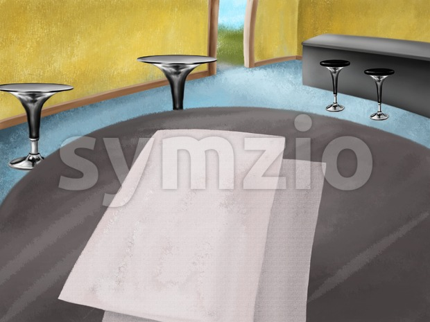 Bar interior with table and some papers on it. Digital background raster illustration. Stock Photo