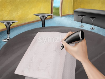 Bar interior with tables, some papers and hand with pen above them. Digital background raster illustration. Stock Photo