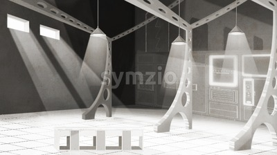 Spacious restaurant kitchen interior design. Black and white digital background raster illustration. Stock Photo