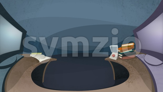 Table with two computer monitors displayed side by side. Digital background raster illustration. Stock Photo