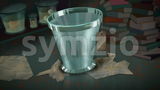 Glass Bucket with a Label in a Lab full of Books and Exhibit Glass Jars. Digital background raster illustration. Stock Photo