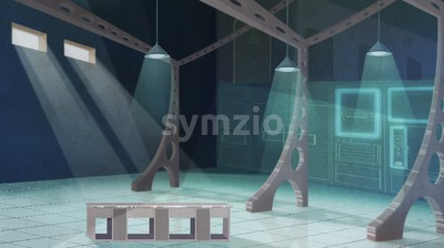 Spacious restaurant kitchen interior design. Colorful digital background raster illustration. Stock Photo