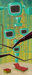 Brainwashing machine. Futuristic computer. Digital background raster illustration. Stock Photo