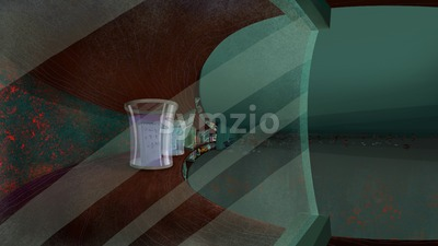Shelves with Glass Jars in a Living Room. Digital background raster illustration. Stock Photo