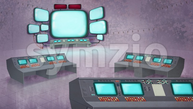 Mission Control Center Interior. Data Center with Control Panels, Computers, Displays. Digital background raster illustration. Stock Photo