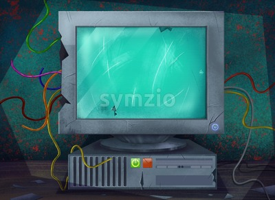 Old Broken Dysfunctional Computer Standing on a Table. Digital background raster illustration. Stock Photo