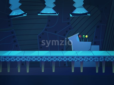 Conveyor on a Production Factory. Digital background raster illustration. Stock Photo