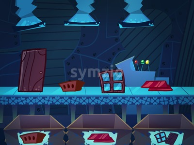 Working Conveyor on a Production Factory. Digital background raster illustration. Stock Photo