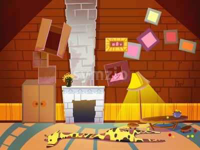 Living Room with Fireplace, Chimney and Photo Frames. Digital background raster illustration for kids book. Stock Photo