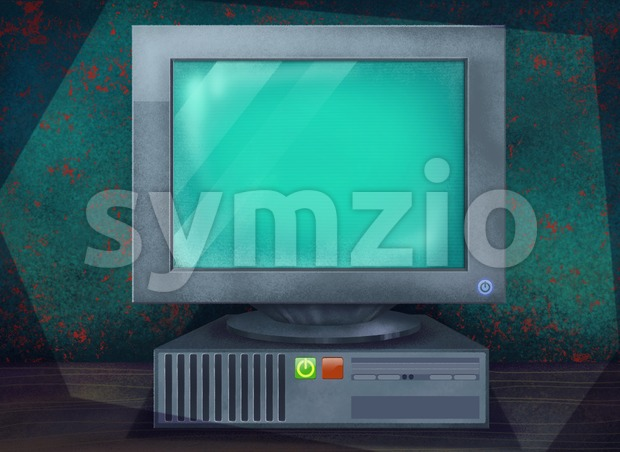Old Working Computer Standing on a Table. Digital background raster illustration. Stock Photo