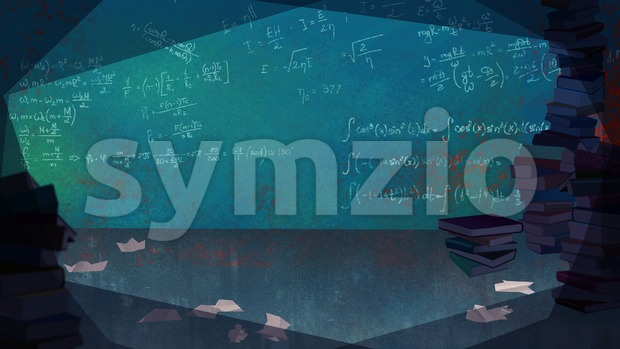 Mathematical Formulas written on the Wall in a Living Room full of Books. Digital background raster illustration. Stock Photo