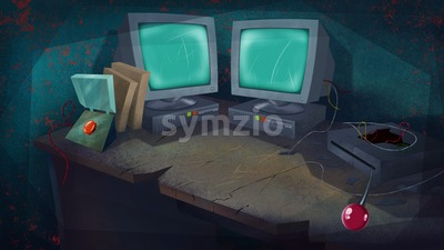 Two Computers and a Red Button on a Table in a Living Room. Science Laboratory. Digital background raster illustration. Stock Photo