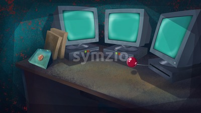 Three Computers and a Red Button on a Table in a Living Room. Science Laboratory. Digital background raster illustration. Stock Photo