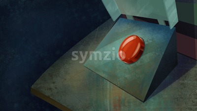 Red Shiny Button on a Table. Digital background raster illustration. Stock Photo