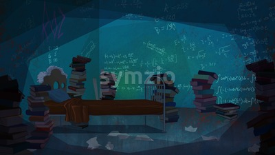 Mathematical Formulas written on the Wall in a Bedroom full of Books. Digital background raster illustration. Stock Photo