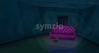 Luxurious Pink Sofa in a Blue Living Room with Potato Chips and Soda. Digital background raster illustration. Stock Photo