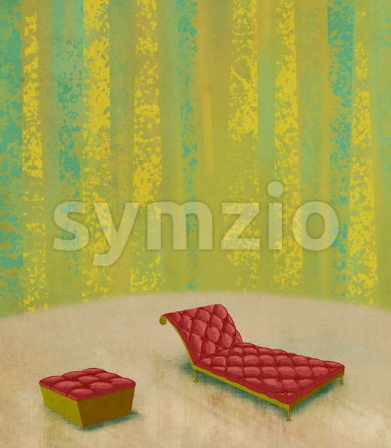 Living room interior design with red buttoned sofa and footstool. Digital background raster illustration. Stock Photo