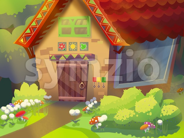 Granny's house in the forest drawn in cartoon style. Digital background raster illustration. Stock Photo