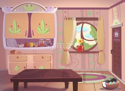 Living room drawn in cartoon style raster illustration. Stock Photo