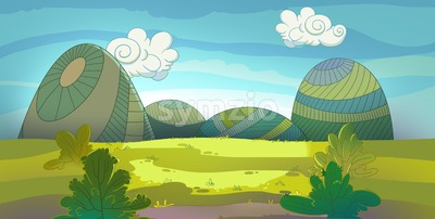 Green meadow raster illustration drawn in cartoon style. Stock Photo