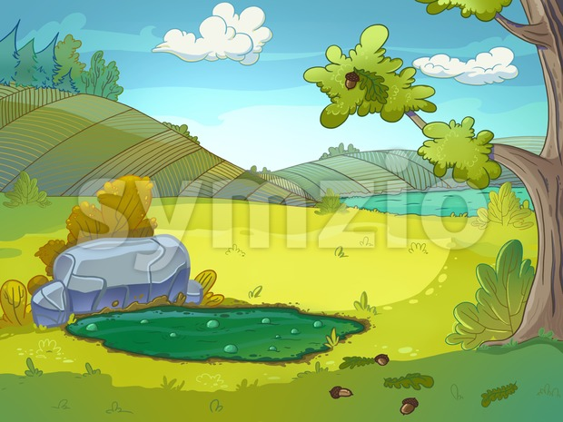 Mud puddle raster illustration drawn in cartoon style. Stock Photo