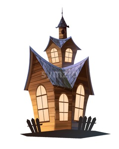 Magic house cartoon illustration isolated on white backdrop. Stock Photo