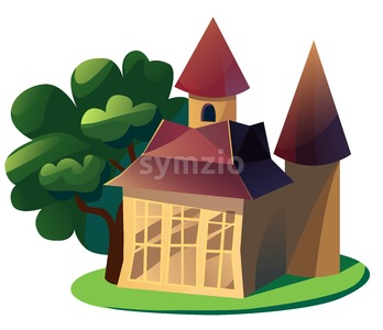 Summer cottage cartoon illustration isolated on white backdrop. Stock Photo