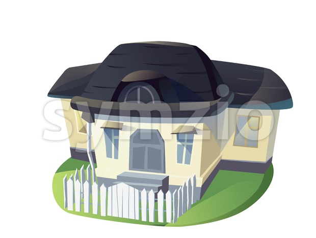 Family house cartoon illustration isolated on white backdrop. Stock Photo