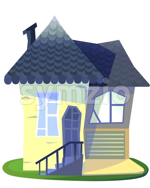 Grandma's house cartoon illustration isolated on white backdrop. Stock Photo