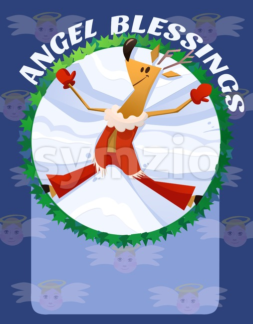 Angel Blessings Christmas Card. Deer Cartoon Illustration. Stock Photo
