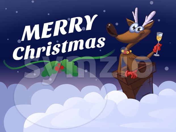 Merry Christmas Deer Cartoon Illustration Holiday Greeting Card Stock Photo