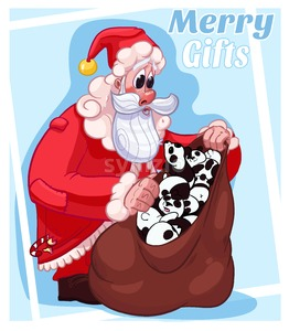 Merry Christmas Gifts Santa Cartoon Illustration Card Stock Photo