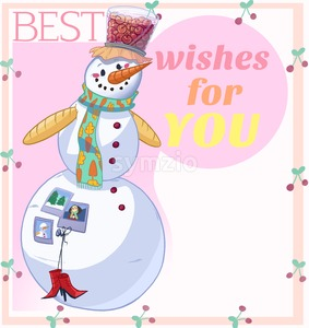 Snowman Best Wishes for You Illustration. Raster drawn illustration in cartoony style. Merry Christmas & Happy New Year Card. Stock Photo